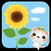 ヒマワリと白猫170×170sozai_image_73289.png