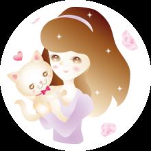丸囲み猫を抱っこする女性200.png